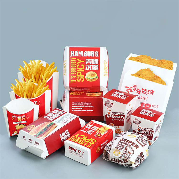Disposable take away fast food box with logo