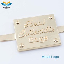 handbag brand gold small metal stamping embossed name letter logo plate on leather for handbags and hats