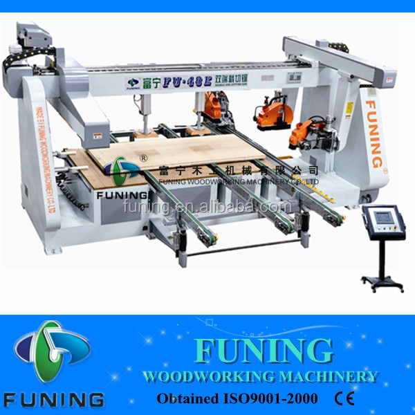 FU-48E automatic four sides wood cutting saw/plywood sliding table machine