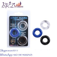 Hot Sales Three color STAY HARD DONUTS Penis cock ring ,delay ring for men