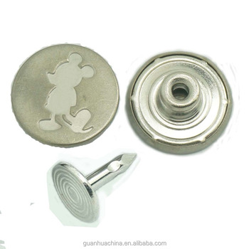 custom engraved logo metal shank round jeans button