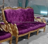 3-seats wood sofa in gold color for star project usgae