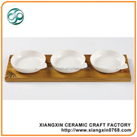 3pcs white restaurant serving dishes with wooden tray