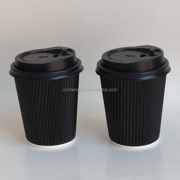 8 oz Black Disposable Recycled Double Wall Paper Corrugated Coffee Cups