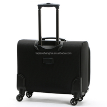 Black cabin size soft suitcase 210D lining with trolley