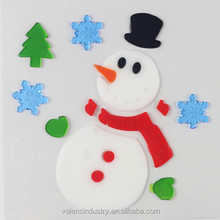 Snowman Design Cute Removable Easily Peel off Jelly Gel Gem Glass Fridge Walmart Supply Santa Claus Christmas Window Sticker
