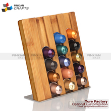 Holds 21 Nespresso Pods stainess steel base bamboo Home Counter Top Cafe Capsules Holder K-Cup Coffee or Tea Pods holder