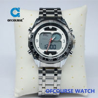 2015 fashion solar men's sports watches waterproof dual time military watch