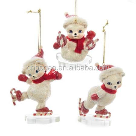 Polyresin Custom Figurine Bear Resin Christmas Ornaments