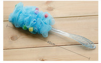 2016 Top sell Colorful long handle super soft bath brush flower bath ball hanging back brush good for skin