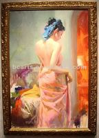 Pretty girl naked back oil painting, high quality hand painted home decor wall painting, portrait painting high body