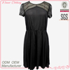 sexy formal party wear round neck short sleeve open back with button see-through pleats bottom 2013 new design ladies dress