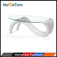 American style Black White Oval Tempered Glass Coffee Table