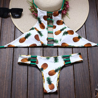 Hot korea nude girl sex photo open bikini model ladies pineaple printed reversible high neck brazilian bikini swimwear