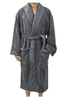 Men's Plush Coral Fleece Solid Color Bathrobe Robes