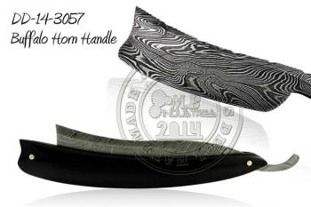 Damascus Steel Straight Razor Buffalo Horn Handle DD-14-3057