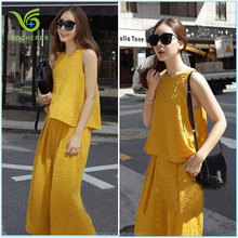 Ladies long formal chiffon suits for 2016 summer fashion design yellow color