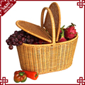 New style large capacity rattan outdoor picnic basket with handle handmade plastic PE 4 person picnic basket