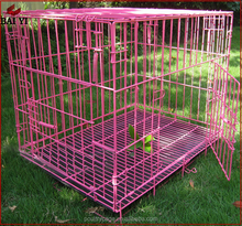 Wholesale Aluminum Pink Folding Dog Crate With Plastic Tray