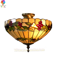 16 inch grape stained glass tiffany style antique brass tiffany ceiling lamp for Lighting Decorative