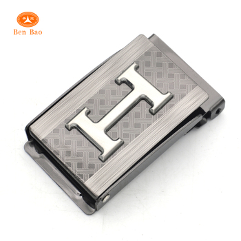 High quality new goods flip top web belt bucke with custom metal plate logo