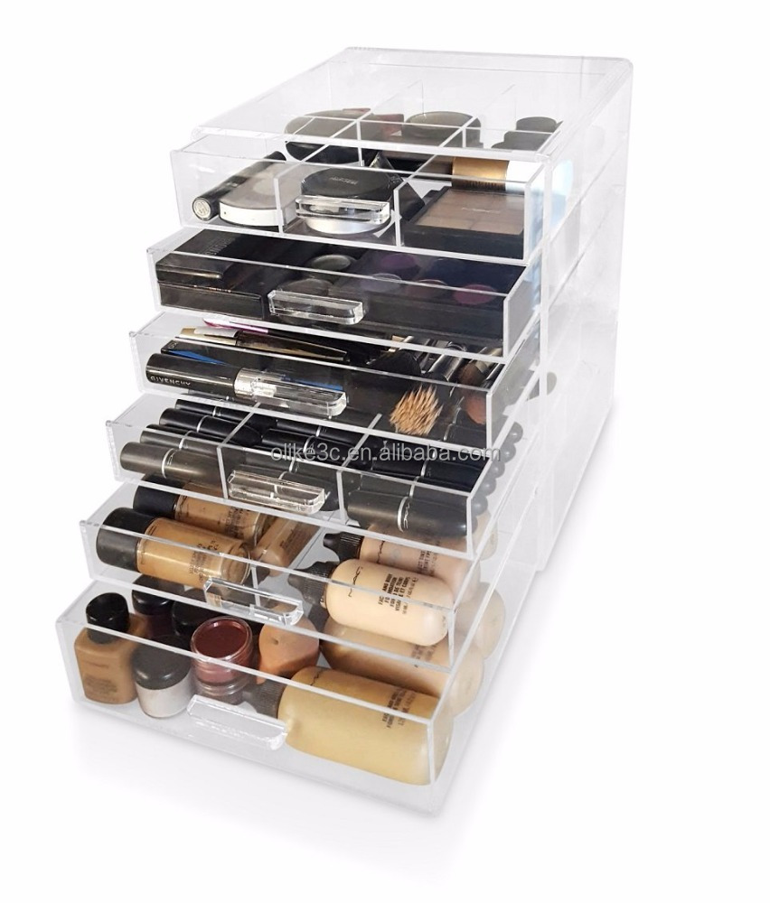 Top Lid 5 Drawers Crystal Handles Free Dividers 5mm Clear Acrylic Makeup Box