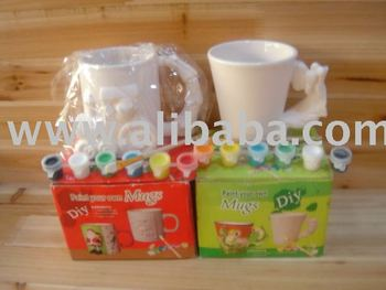 Diy ceramic mugs paint kit buy diy paint product on for How to paint ceramic mugs at home