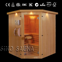 4 person Red Cedar outdoor barrel sauna room with sandglass, hygrothermograph, scoop