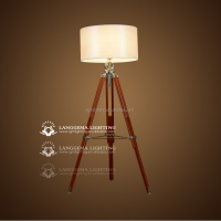 Industrial style Handle floor lamp in black tripod wood material