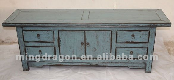 Chinese antique furniture blue/ red color wood TV Cabinet