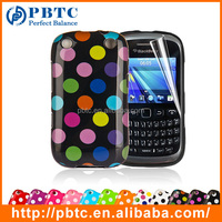 Set Screen Protector And Case For Blackberry 9320 , Polka Dots Gel TPU Digital Phone Case