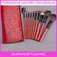 10 pcs pro cosmetic makeup brush sets and crimson polk dot roll up cases with zipper new style cosmetic bag