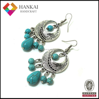 2015 Fashion Turquoise Silver Earring, Indian Silver Jewelry Manufacturer