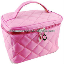 pink microfiber square quilted cosmetic bag with double double zipper head