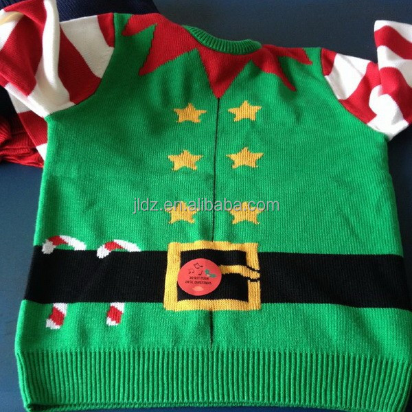 Knitted christmas sound module sweater
