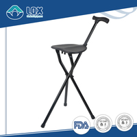 Foldable and Height adjustable elderly walking stick