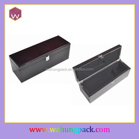 Portable Single Bottle Wood Wine Gift Box & Locked MDF Red Wing Case Black Design