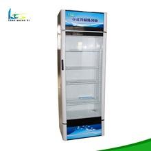 high quality vertical slim open beverage bottle refrigerated produce display cooler