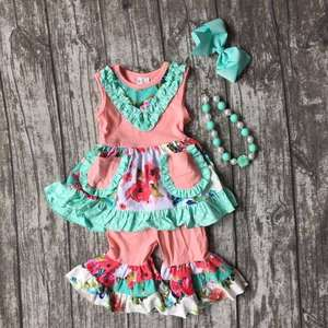 girls Summer outfit baby floral mint coral clothes cotton pocket boutique ruffles clothes kids wear sets matching accessories
