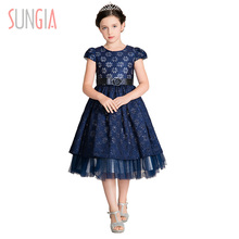 Kids party dress wholesale baby lace girls summer wedding birthday lace kids dresses