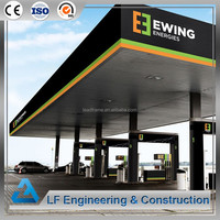 Color galvanized steel structure gas station