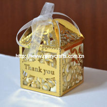 "hot sale laser cut ""leaves"" candy box wedding thank you gift for guests"