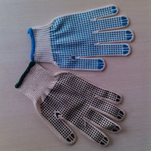 pvc dotted cotton glove/canvas glove with black pvc dots