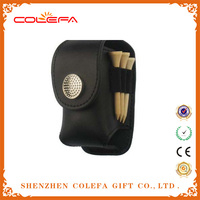 hot selling Mini Portable Golf Ball Leather Pouch bag+2 Ball +2Tees Golfer Club Practice Equipment