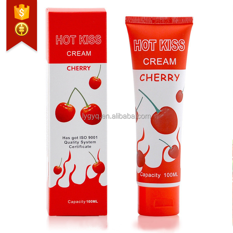 Love Kiss Lubricant Cherry Cream 100ml Edible Personal Body Lubricants Oral Sex Vaginal Blow Job Massage Oil Adult Sex Products