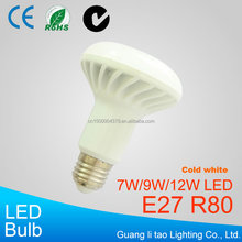 Wholesale R80 LED Bulb E27 7W Lamp 110V-240V High quality Cold white Light Aluminimu inside PC body