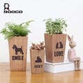 Roogo new products small size animal picture cuboid wooden shape flower pots