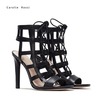 Sexy stiletto girls high heels gladiator sandals with lace up