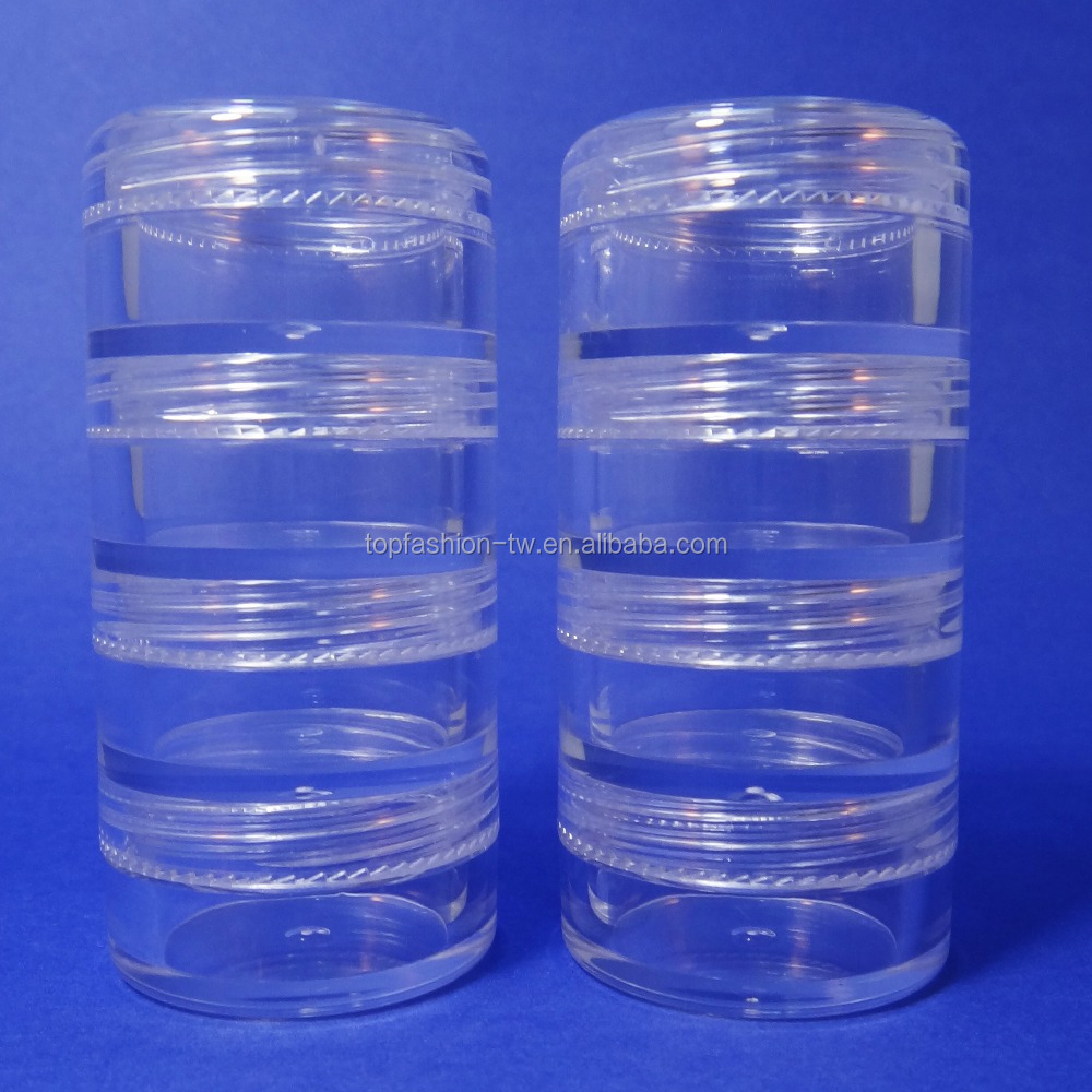 80 set 4 Stacked Storage Container Mini Clear Plastic Jar Travel Sample Case 5 g (AY81-5-4stacked))