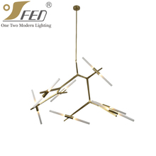 Modern Led Brass Pendant Light Chandelier Lighting Factory China with 14 Lights